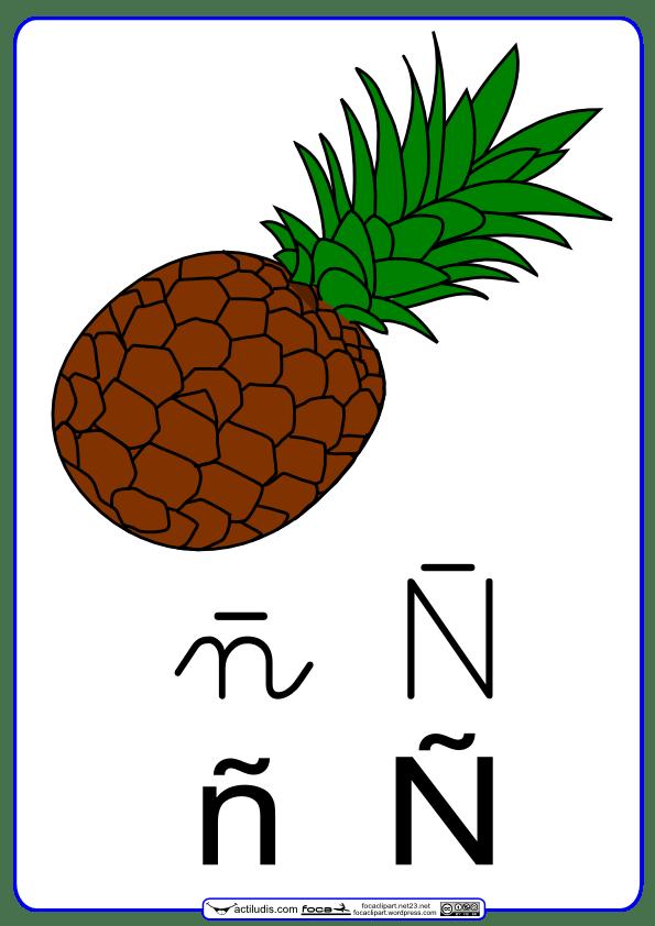 Letra ñ Con Grafía En Cursiva Actiludis