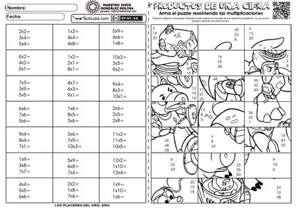 Productos de 1 cifra - puzzle