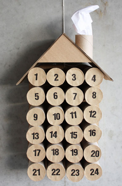 calendario adviento con rollos papel