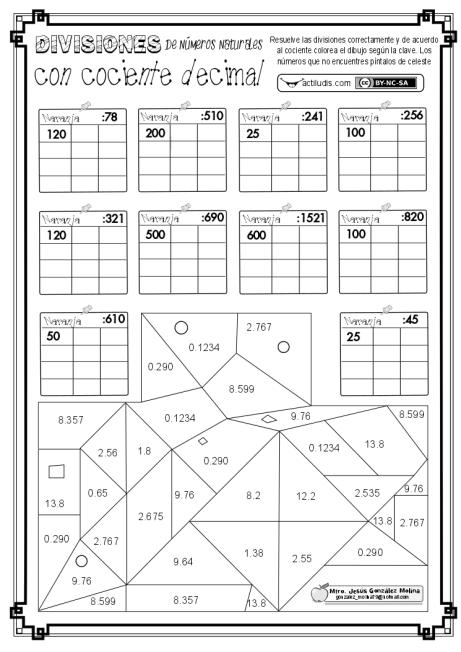 División de números naturales con cociente decimal II - Actiludis
