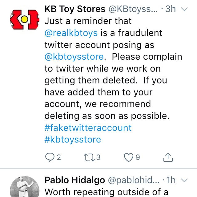 Uh oh. The @kbtoysstore and the @realkbtoys Twitter accounts are fighting!