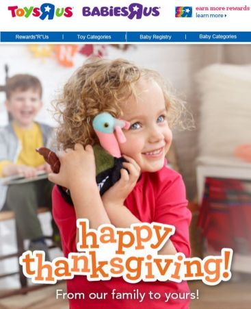 Happy Thanksgiving from Toys R Us