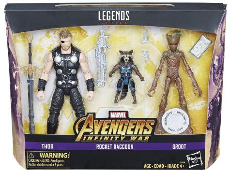 MARVEL AVENGERS INFINITY WAR LEGENDS SERIES 6-INCH Figures (Thor & Rocket Raccoon & Groot) - in pkg