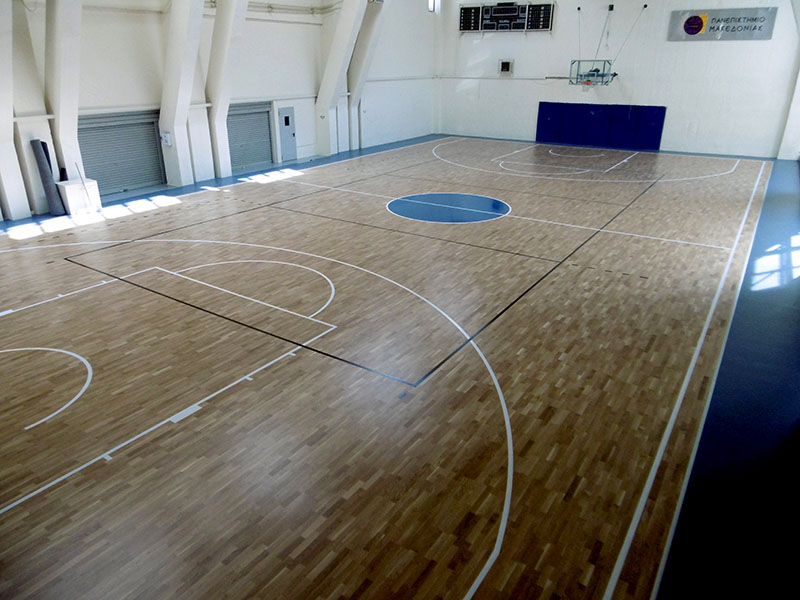 Installation of wooden sports floor in the University of Macedonia