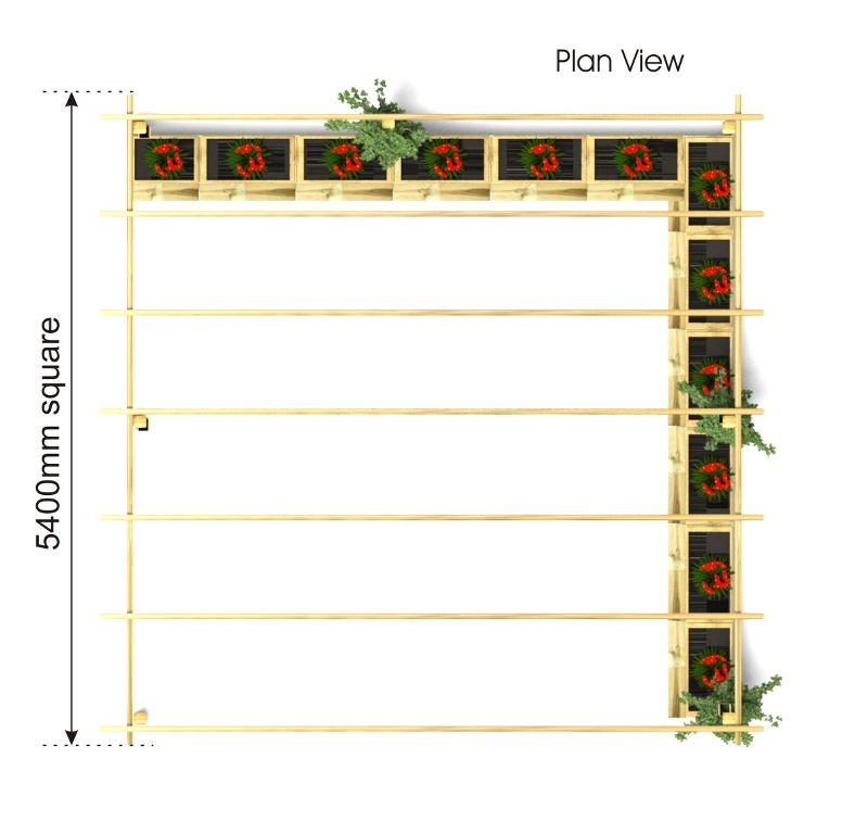 Arbour with Planters plan view