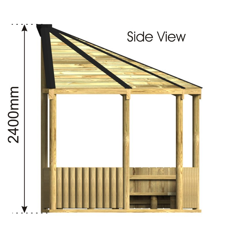 Bespoke Corner Shelter side view