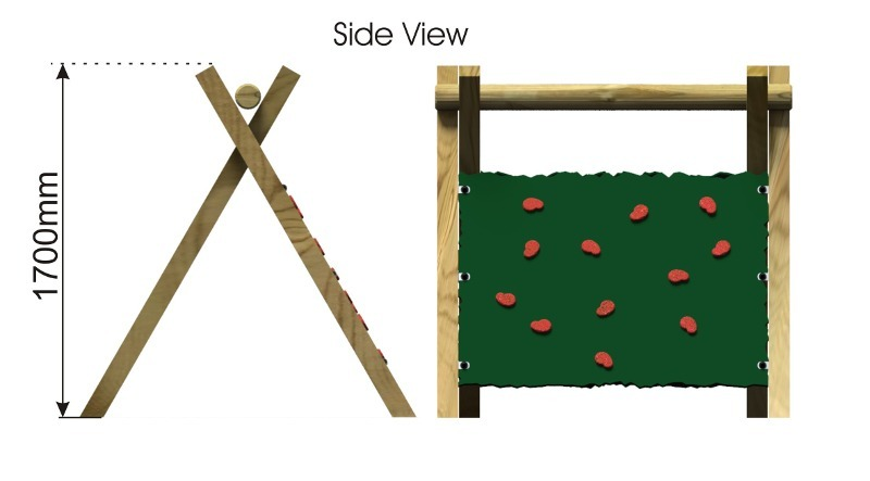 Inclined Climbing Wall with Two Panels side view
