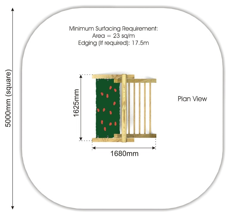 Inclined Climbing Wall with Ladder plan view