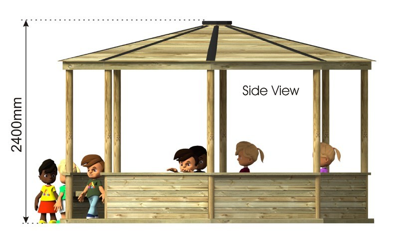 Hexagonal Outdoor Classroom side view