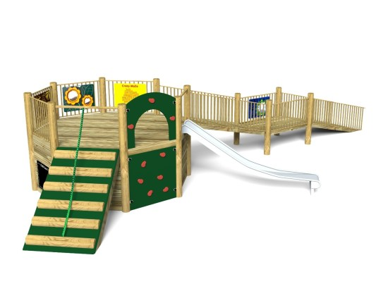 Foxley 1 Inclusive Play Tower with wheelchair ramp and slide