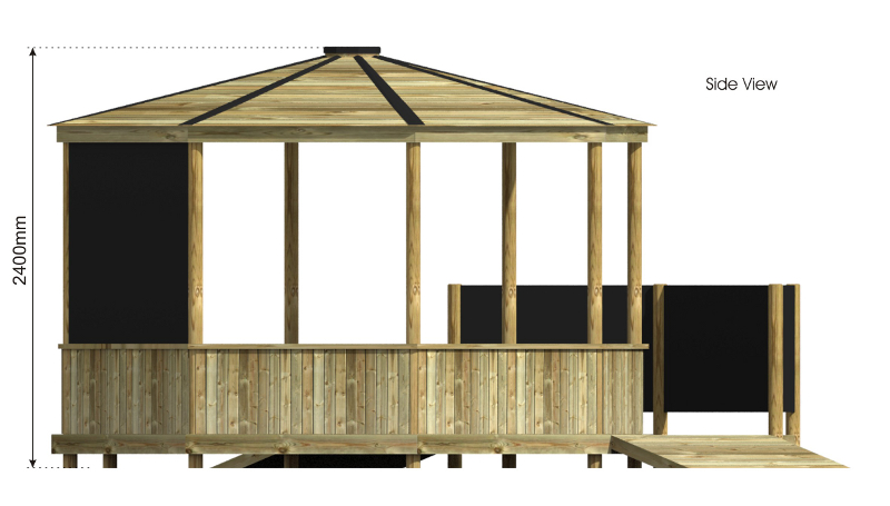 Octagonal Outdoor Classroom with Platform side view