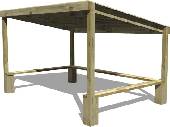 Square Shelter with Seating