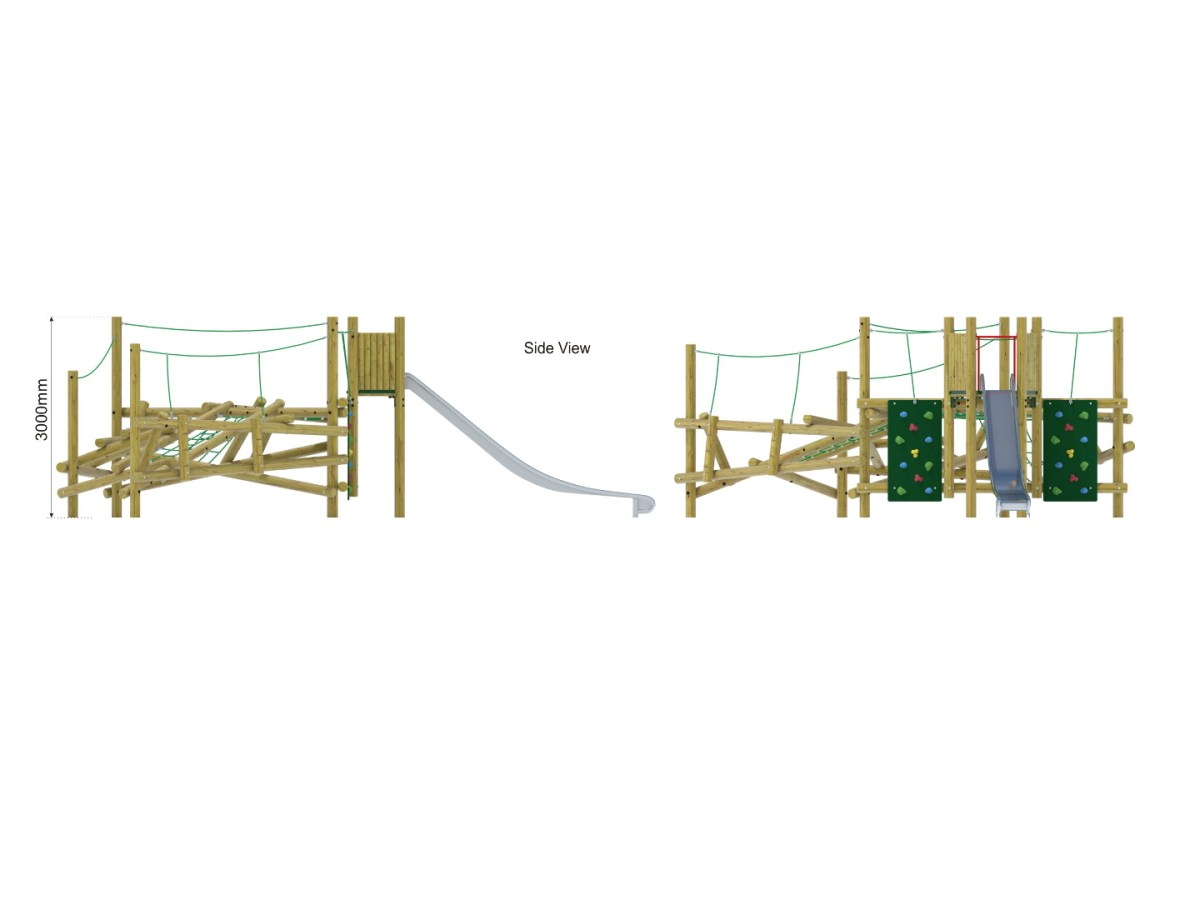 Forest Stack 11 Climbing Frame with Slide side view