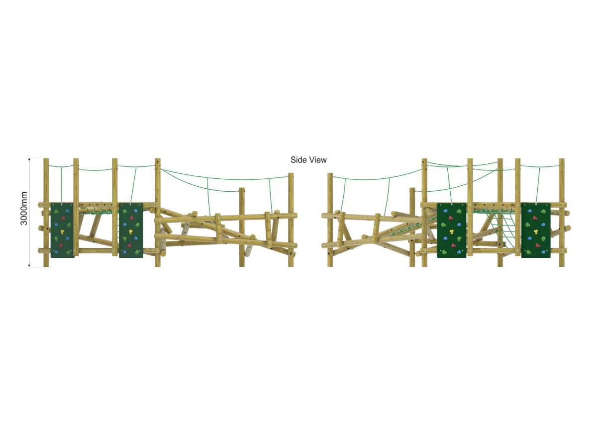Forest Stack 12 Climbing Frame side view