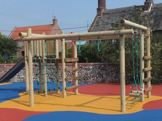 Carleton 4 Climbing frame on colourful wet pour safety surfacing