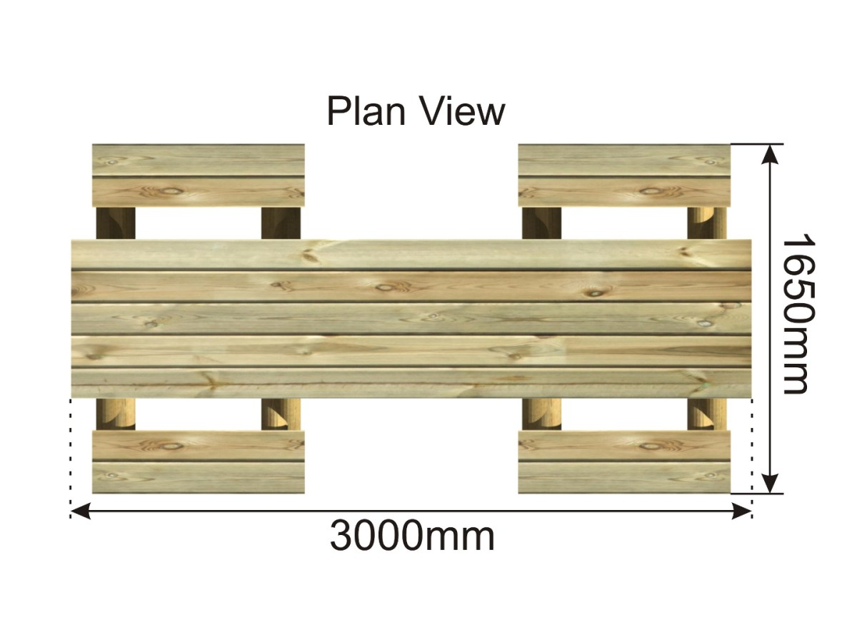 Wheelchair Accessible Picnic Table plan view