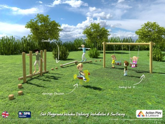 Playground cost example with a Trim Trail, a springer and a double toddler swing