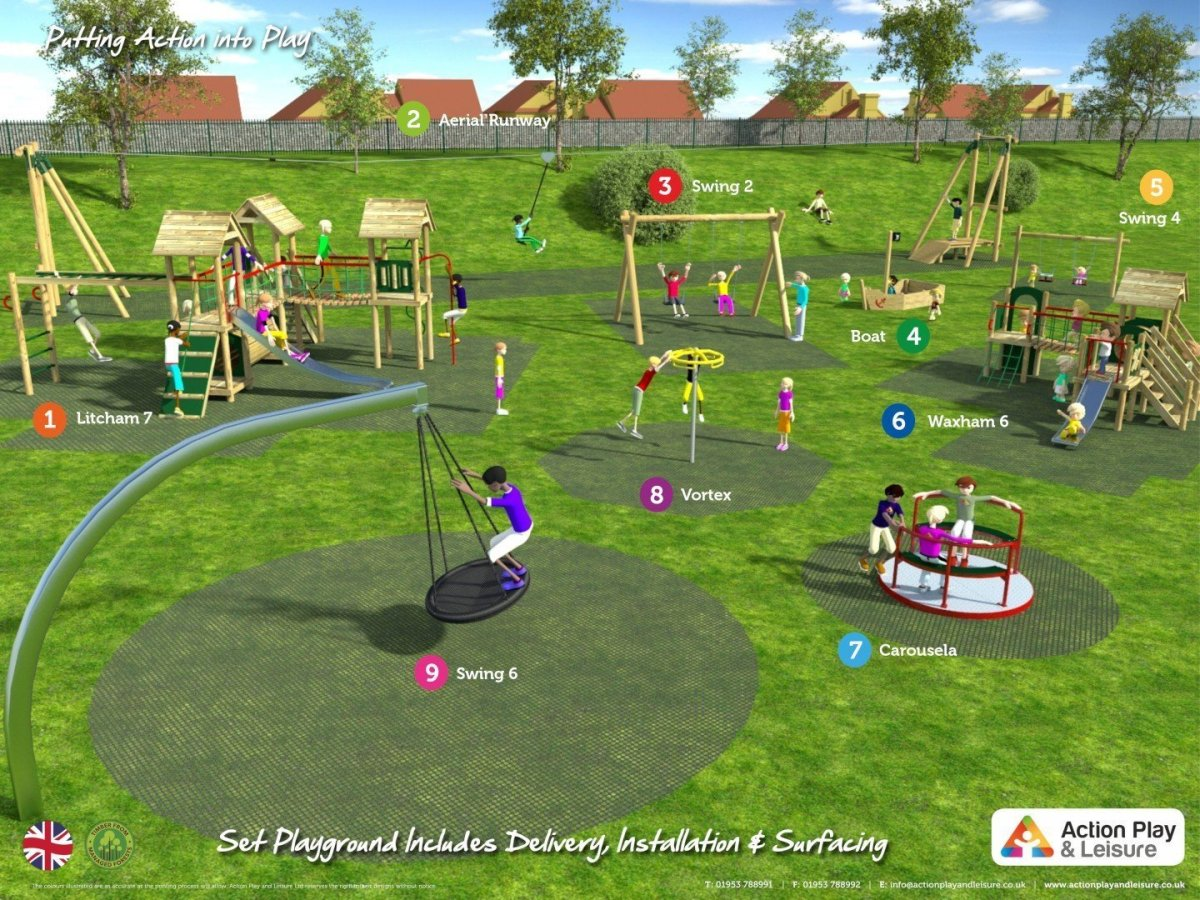 Playground cost example covering a wide age range with 2 climbing frames with towers, slides, benches, a boat, an aerial runway, roundabout, vortex spinner, and swings (including a cantilever swing and toddler swings)