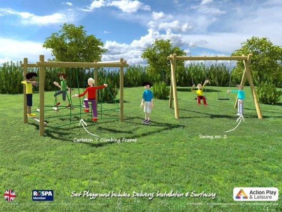Playground cost example with a Carleton climbing frame and 2 swings