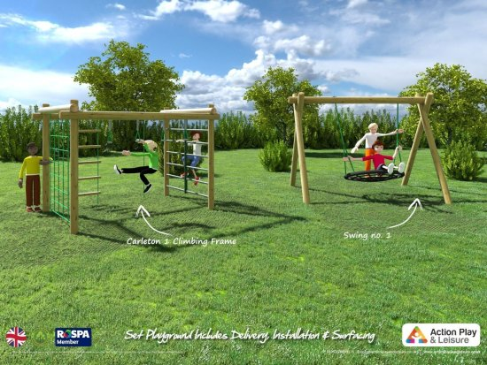 Playground cost example with a Carleton climbing frame and a nest swing