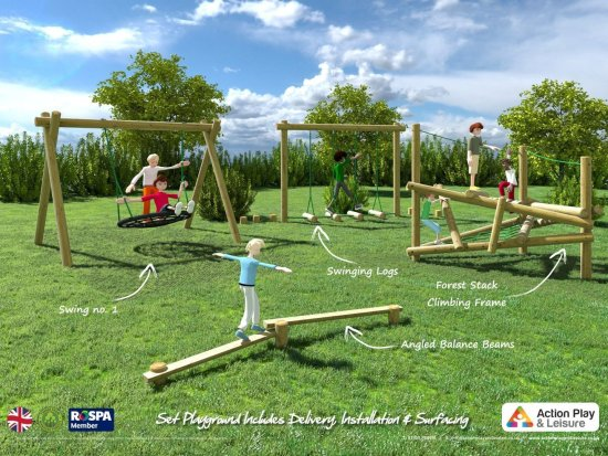 Playground cost example with angled balance beams, a forest stack climbing frame, swinging logs and a nest swing