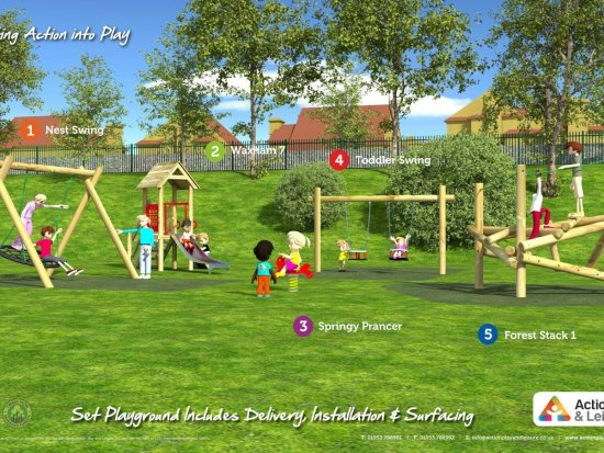 Playground cost example covering a wide age range with 2 climbing frames, a slide, a springer and swings (including a nest swing and toddler swings)