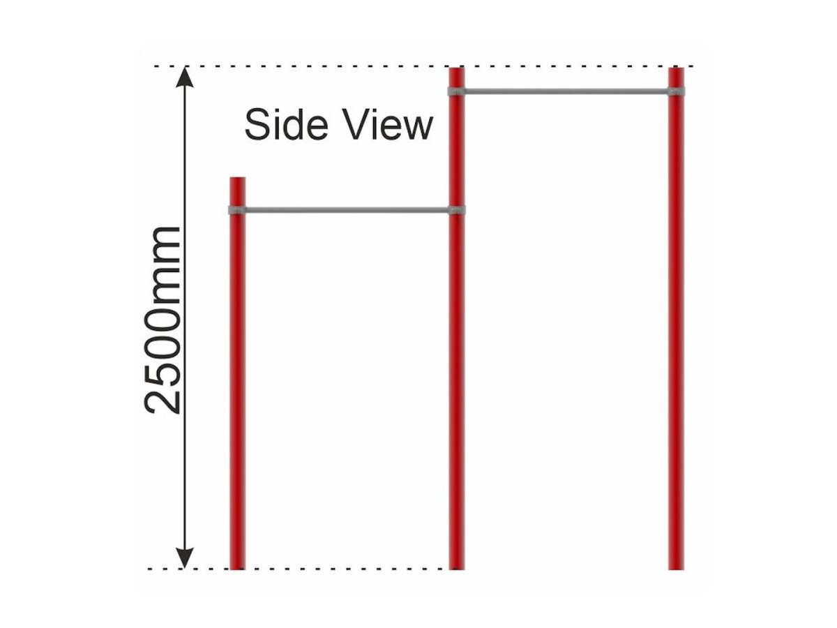 Double Pull Up Bar (2 heights) side view