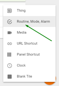 Add Routines Tile Menu