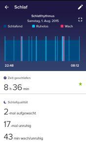 Fitbit Charge HR App Schlafstatistik
