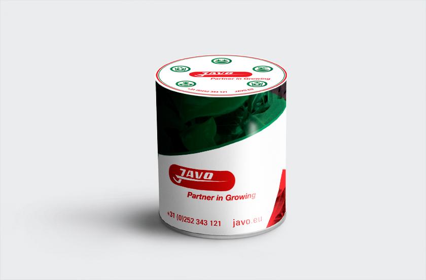 Dit is een afbeelding van het Javo koekblik met groene en rode vlakken en groene icoontjes op een lichtgrijze ondergrond, ontwikkeld door Merkversterkend Reclamebureau Activates uit Sassenheim
