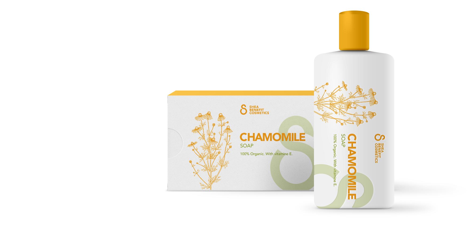 Dit is een afbeelding van een fles en een zeepverpakkingen van het Keniaanse bedrijf Shea Benefit Cosmetics. In het flesje zit een huidcrème gemaakt van Shea noten. De verpakkingen is bedrukt met gele tekst en voorzien van een illustraties van het ingrediënt Camille. De verpakkingslijn is ontworpen door Activates merkversterkend reclamebureau uit Sassenheim.