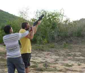 A friend shooting the grenade launcher