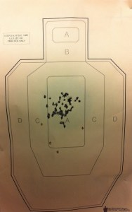 The results of the FBI qual shot with my Glock 19