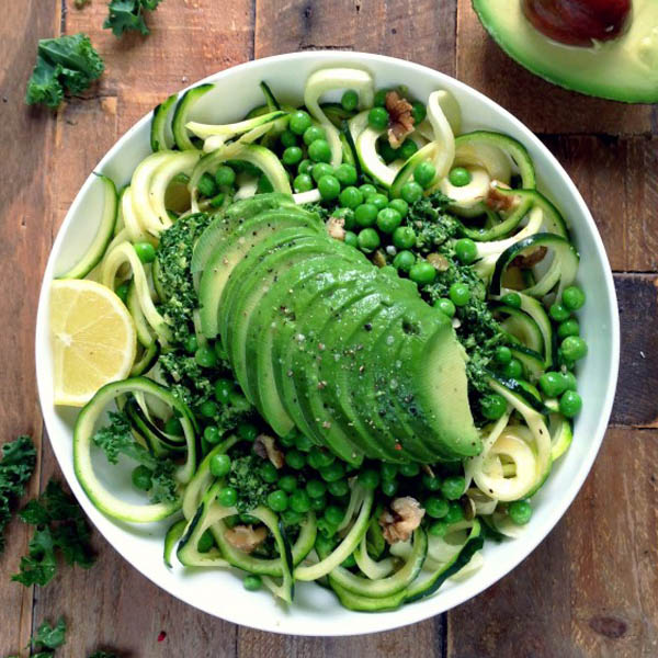 Courgette Pasta with Kale Pesto, Peas and Avocado