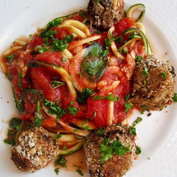 Spicy Bean Balls With Zucchini Pasta