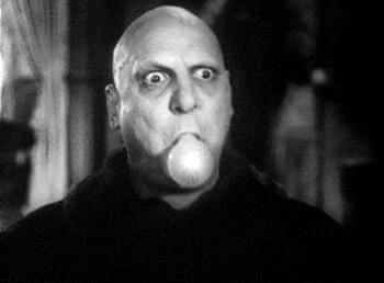 Uncle Fester with a light bulb