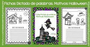 Fichas Dictado de palabras. Motivos Halloween