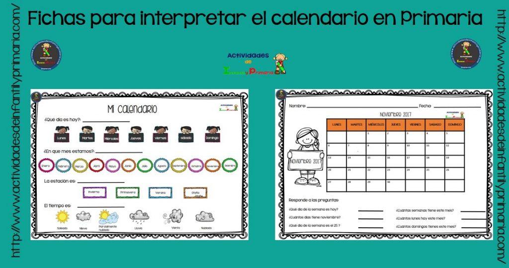 Calendario Para Kinder.Fichas Para Interpretar El Calendario En Primaria