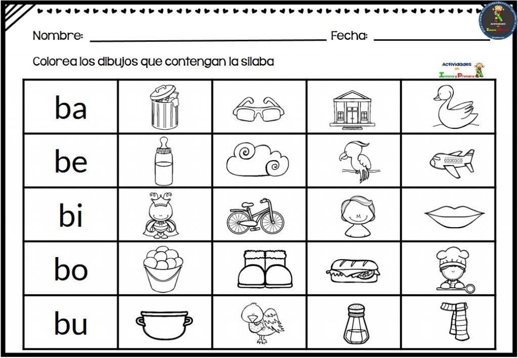 Silaba Dibujo: Fichas Para Repasar Las Sílabas Ba, Be, Bi, Bo Bu