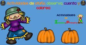 Actividades de otoño, observa, cuenta y colorea