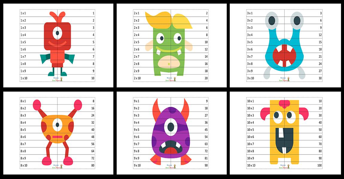 Puzzles Recortables Para Trabajar Las Tablas De Multiplicar