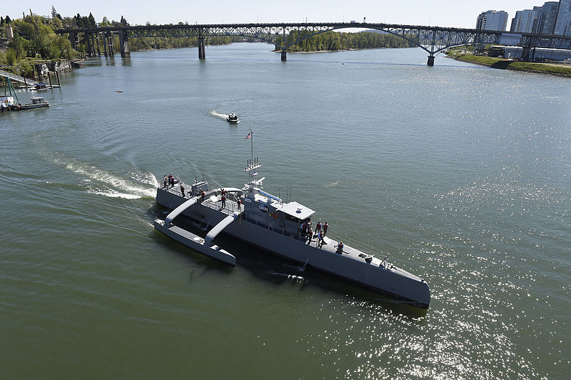 Sea_Hunter_gets_underway_on_the_Willamette_River_following_a_christening_ceremony_in_Portland,_Ore._(25702146834)