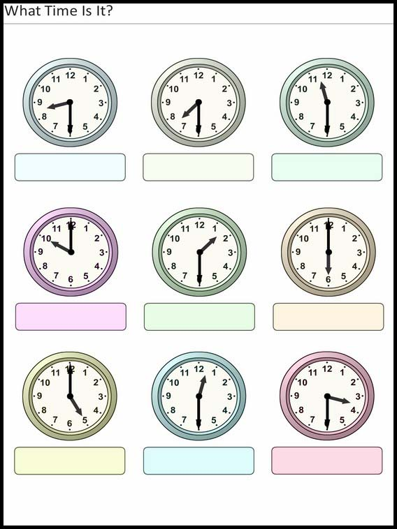 Printable Exercises For Kids What Time Is It 12
