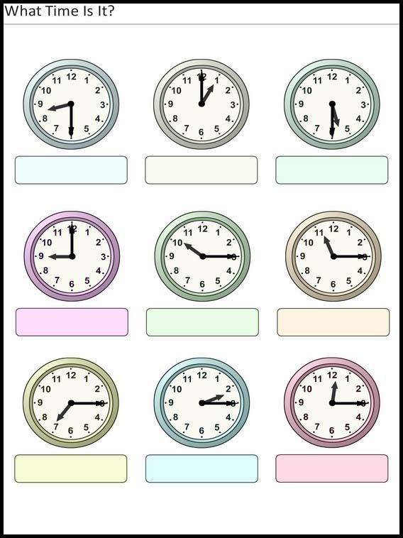 Exercises For Children What Time Is It 8