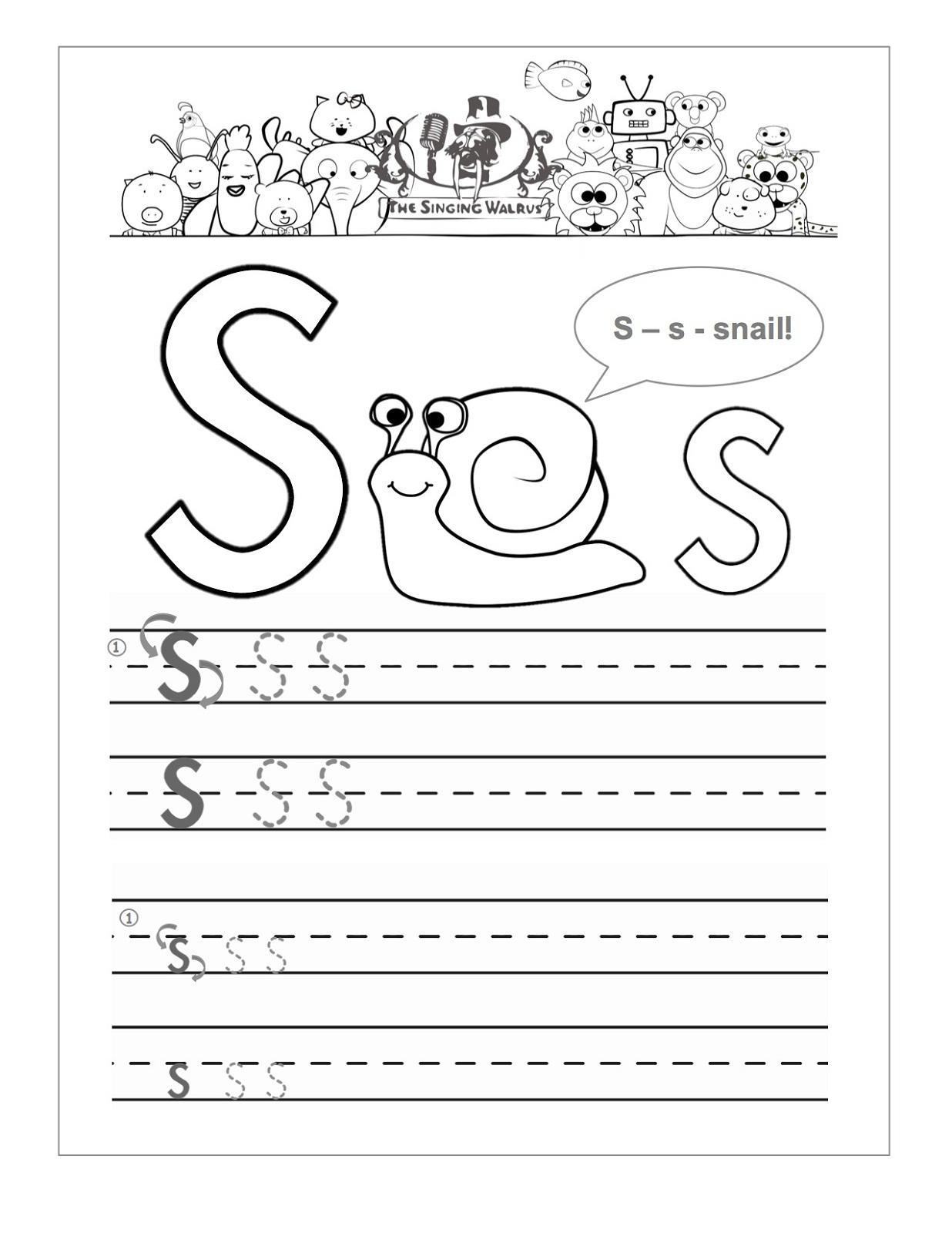 Letter S Worksheets Printable