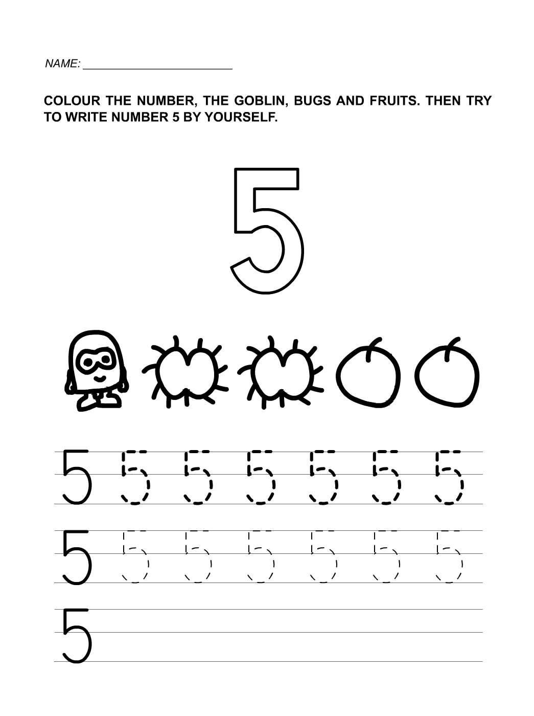 Numbers To 5 Worksheets