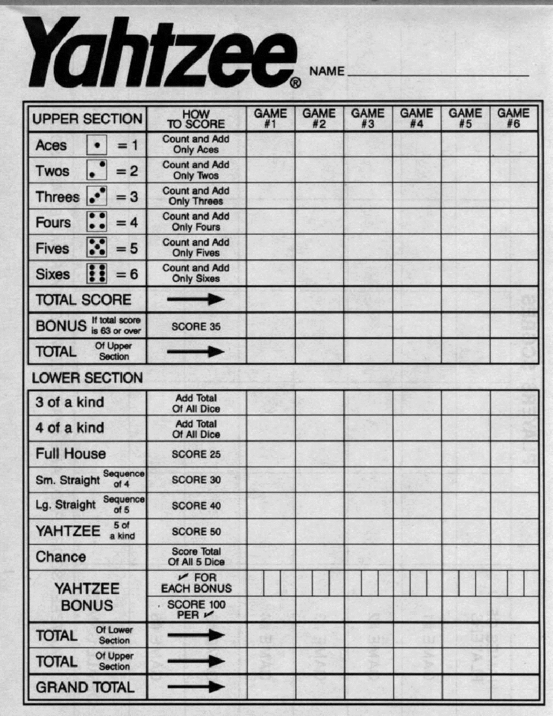 Yahtzee Score Sheets Printable