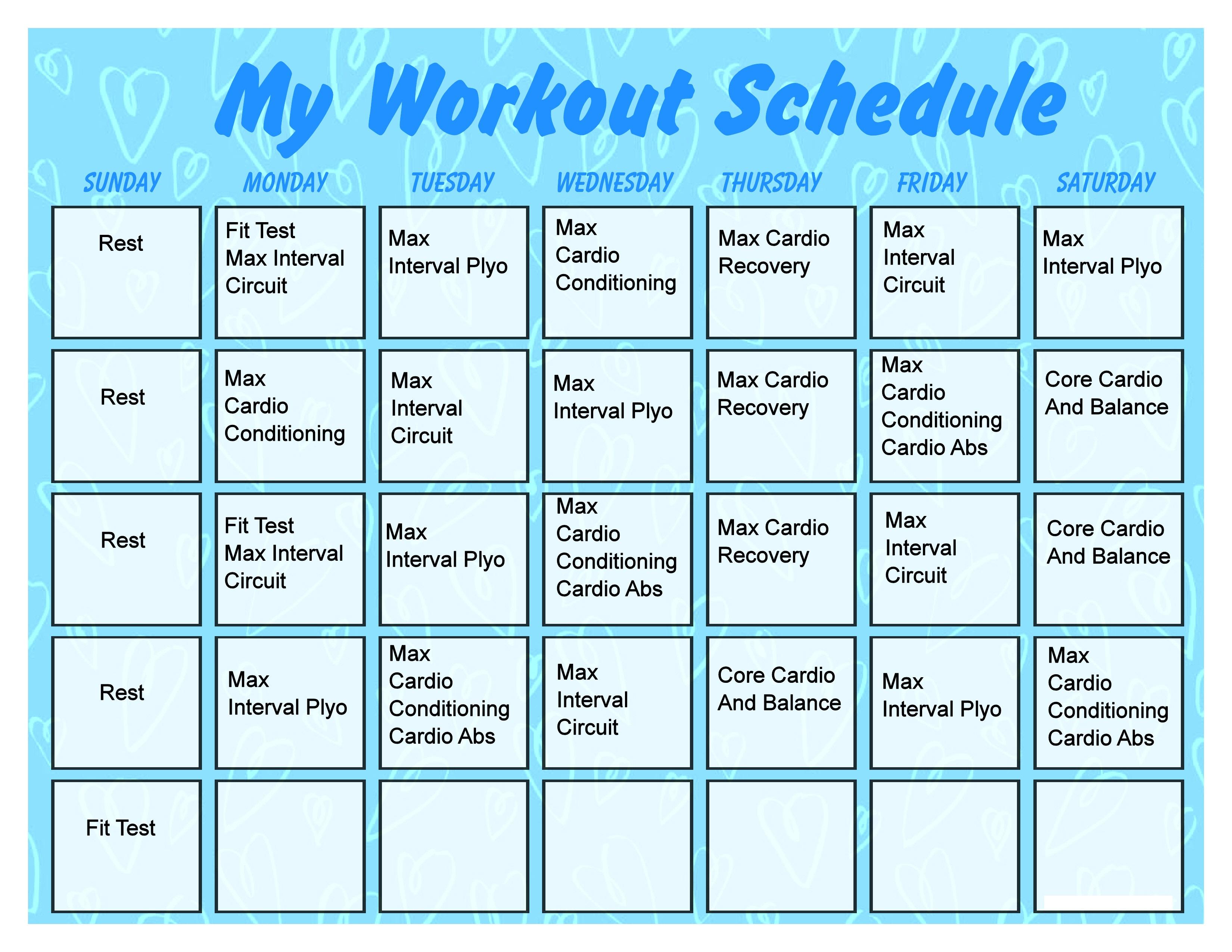 Printable Workout Calendar
