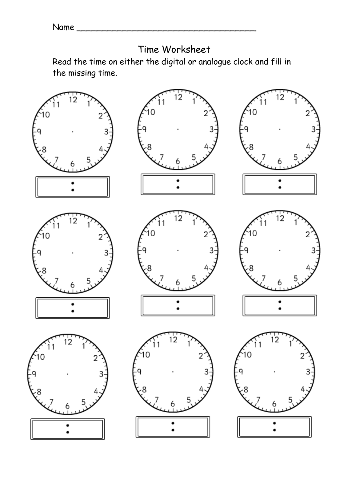 Blank Clock Worksheet To Print