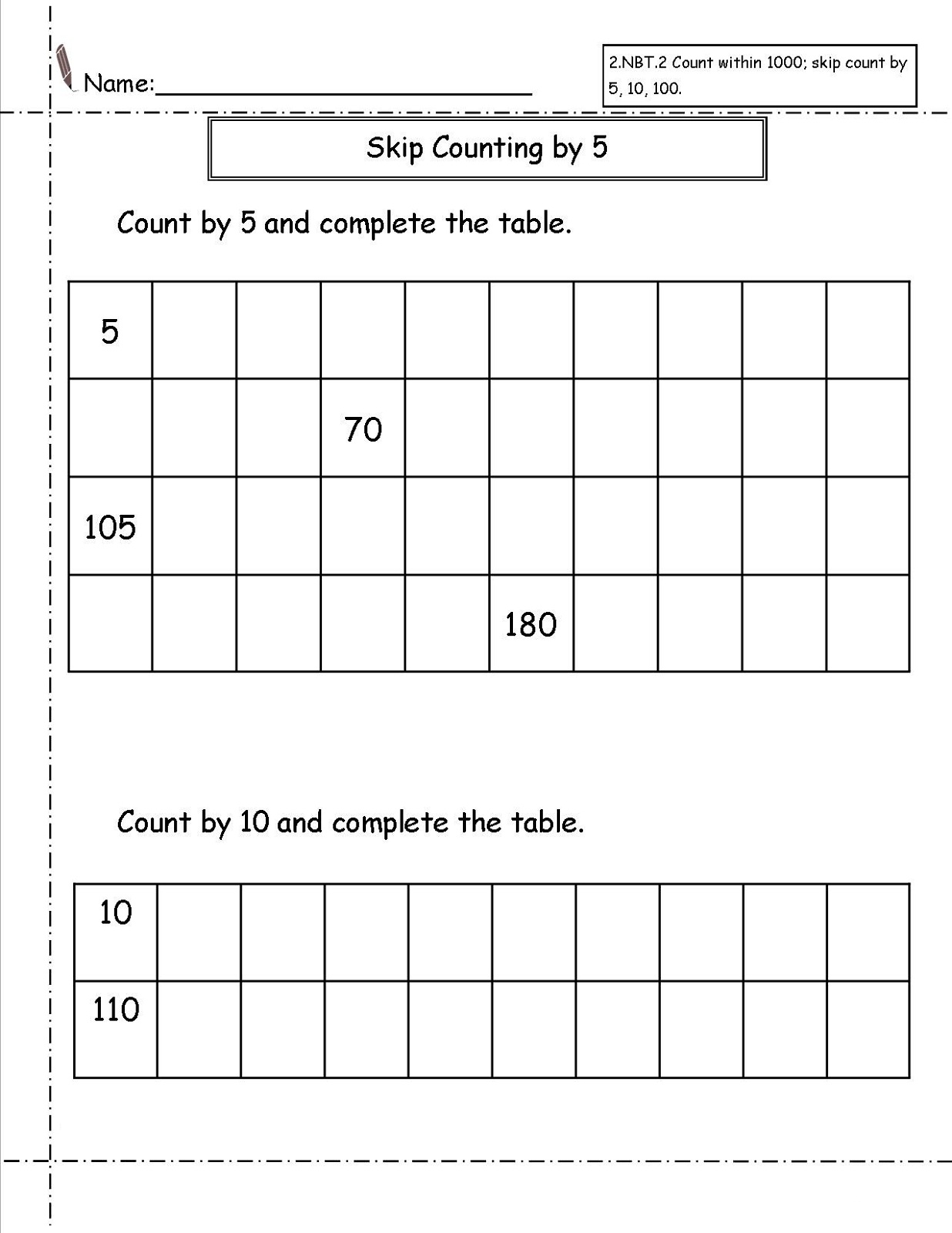 Counting Sequences Worksheet